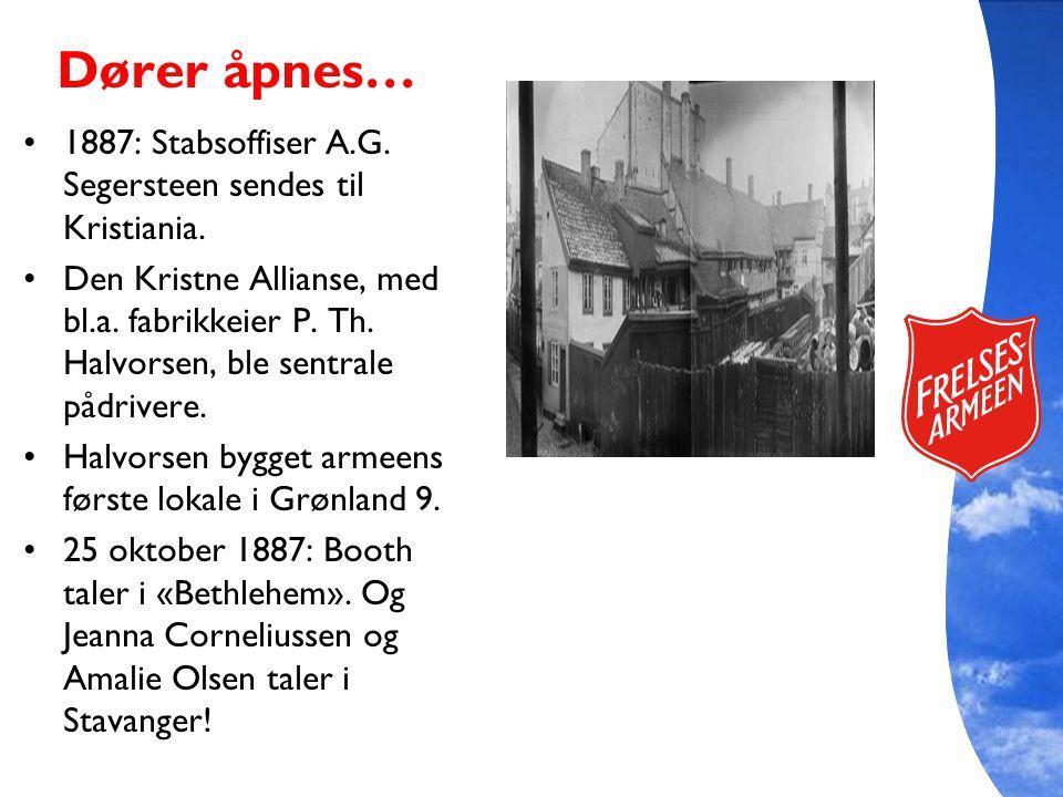 Dører åpnes… 1887: Stabsoffiser A.G. Segersteen sendes til Kristiania.