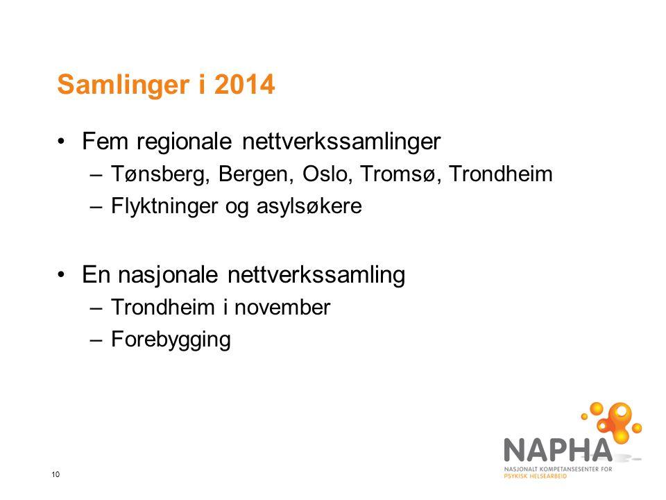 Samlinger i 2014 Fem regionale nettverkssamlinger