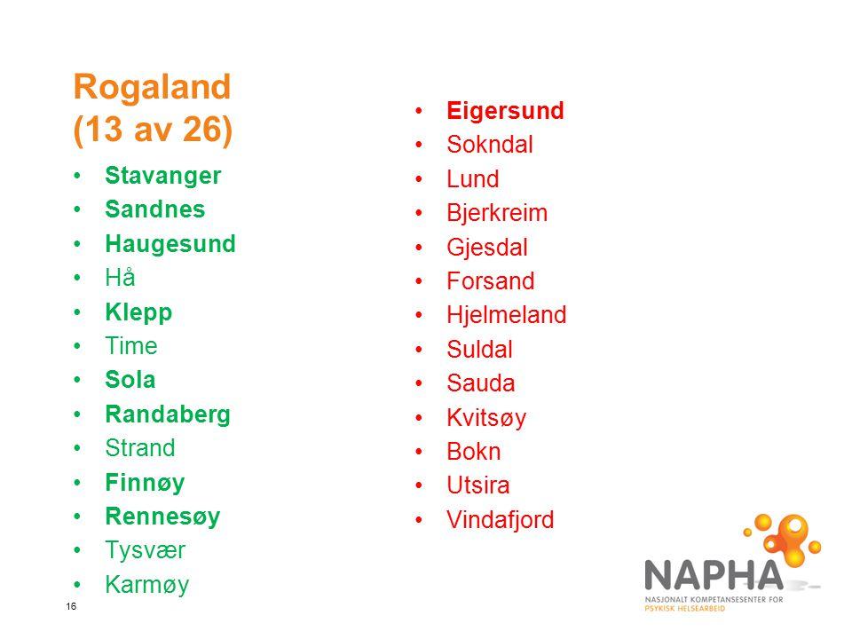 Rogaland (13 av 26) Eigersund Sokndal Lund Bjerkreim Gjesdal Forsand