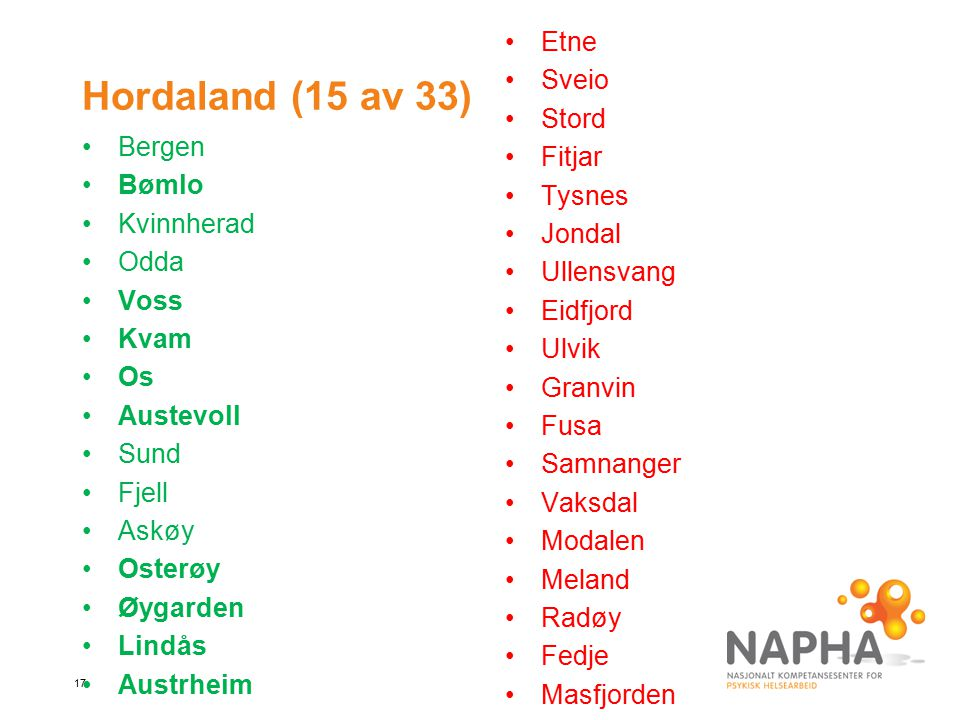 Hordaland (15 av 33) Etne Sveio Stord Fitjar Tysnes Jondal Bergen