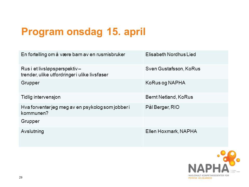 Program onsdag 15. april En fortelling om å være barn av en rusmisbruker. Elisabeth Nordhus Lied. Rus i et livsløpsperspektiv –