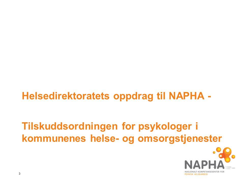 Helsedirektoratets oppdrag til NAPHA -