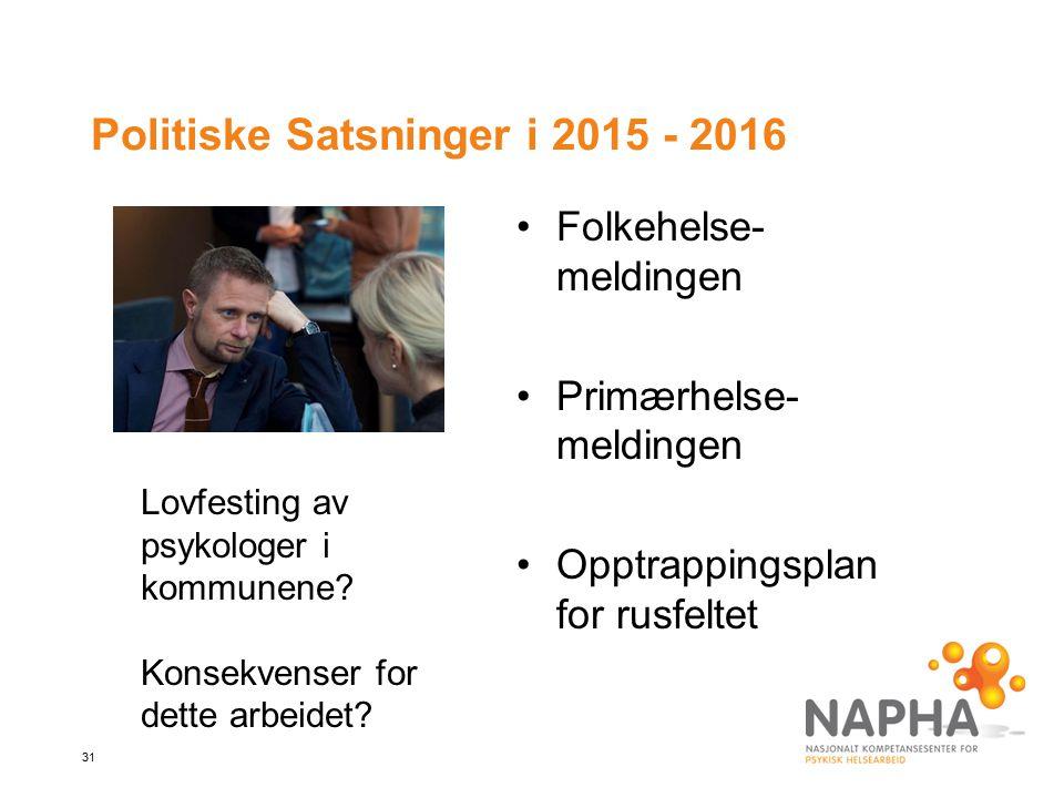 Politiske Satsninger i 2015 - 2016