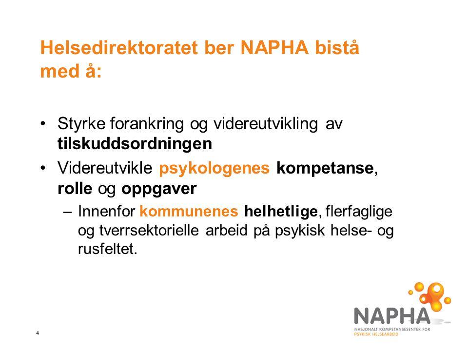 Helsedirektoratet ber NAPHA bistå med å: