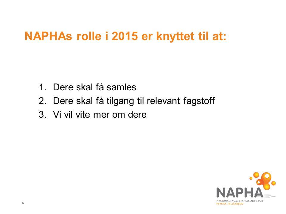 NAPHAs rolle i 2015 er knyttet til at: