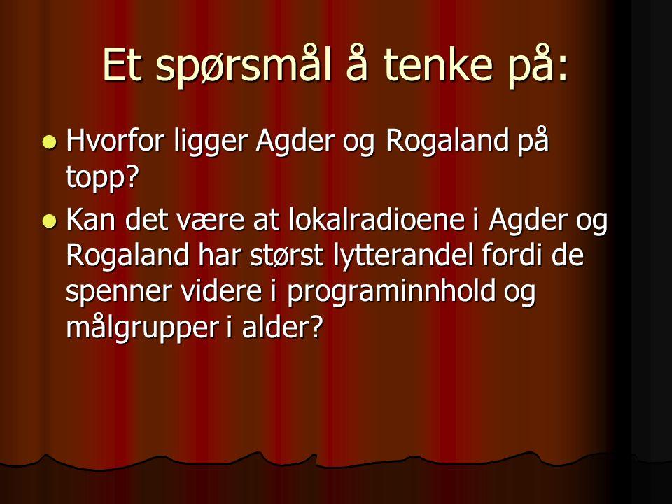 Et spørsmål å tenke på: Hvorfor ligger Agder og Rogaland på topp