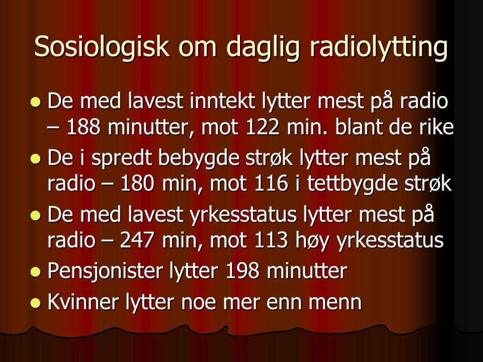Sosiologisk om daglig radiolytting