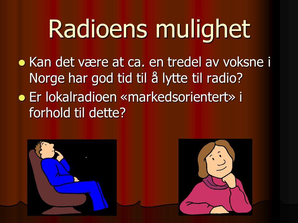 Radioens mulighet Kan det være at ca. en tredel av voksne i Norge har god tid til å lytte til radio