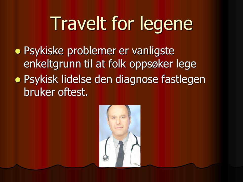 Travelt for legene Psykiske problemer er vanligste enkeltgrunn til at folk oppsøker lege.