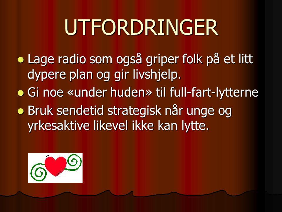 UTFORDRINGER Lage radio som også griper folk på et litt dypere plan og gir livshjelp. Gi noe «under huden» til full-fart-lytterne.
