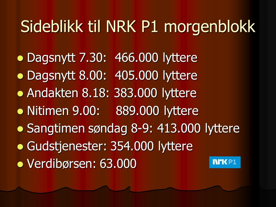 Sideblikk til NRK P1 morgenblokk