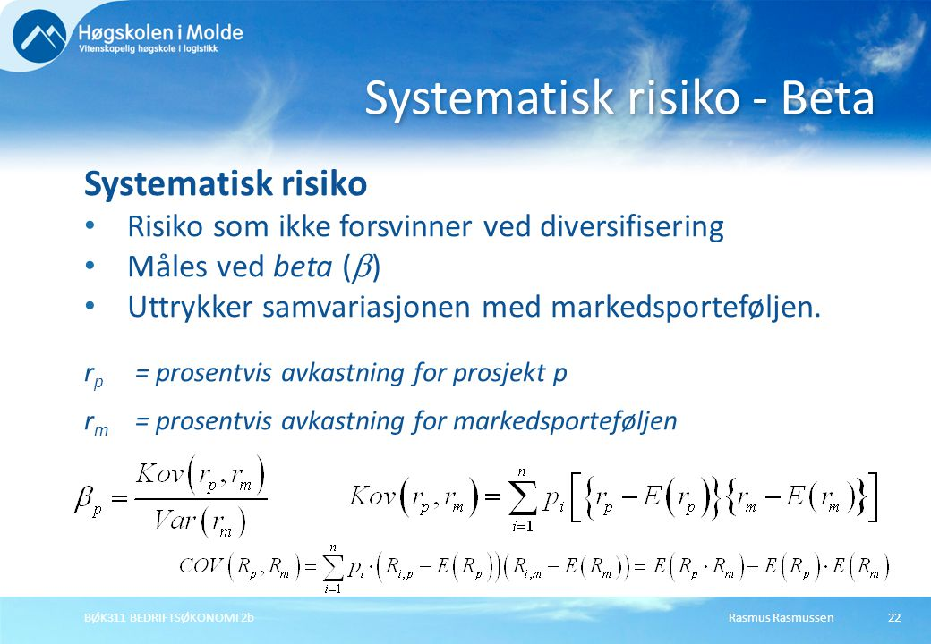 Systematisk risiko - Beta