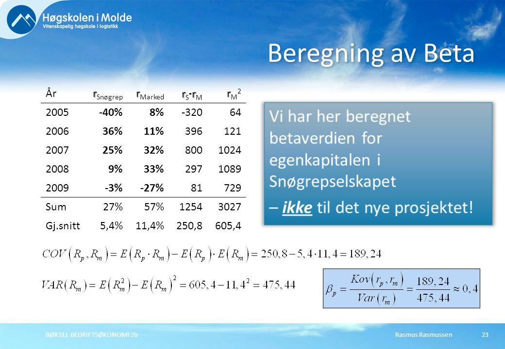 Beregning av Beta År. rSnøgrep. rMarked. rSrM. rM2. 2005. -40% 8% -320. 64. 2006. 36% 11%