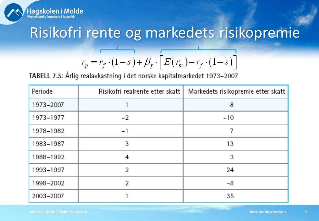 Risikofri rente og markedets risikopremie
