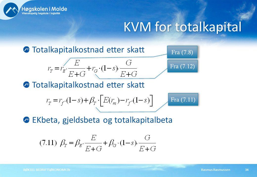 KVM for totalkapital Totalkapitalkostnad etter skatt