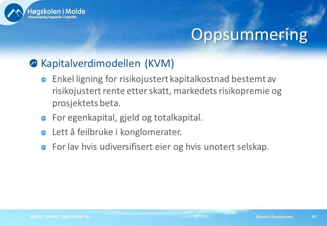 Oppsummering Kapitalverdimodellen (KVM)