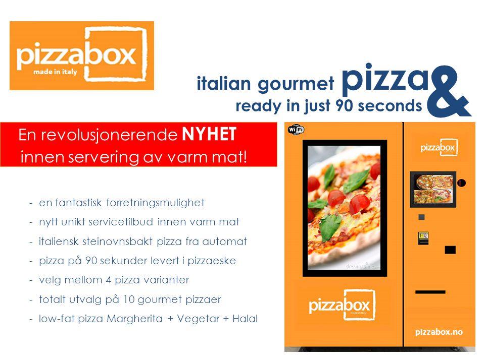 & italian gourmet pizza innen servering av varm mat!