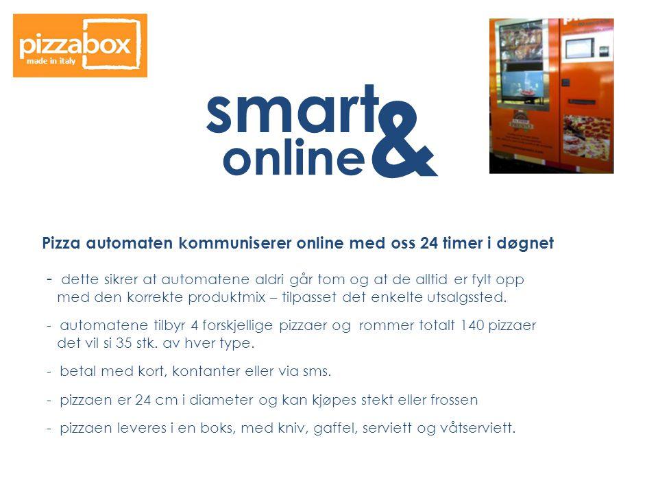 made in italy smart. & online. Pizza automaten kommuniserer online med oss 24 timer i døgnet.