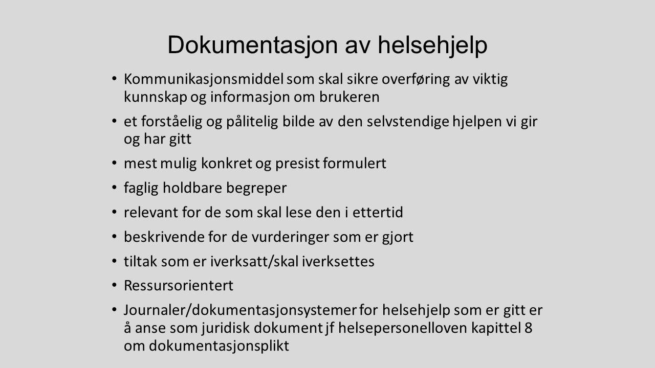 Dokumentasjon av helsehjelp