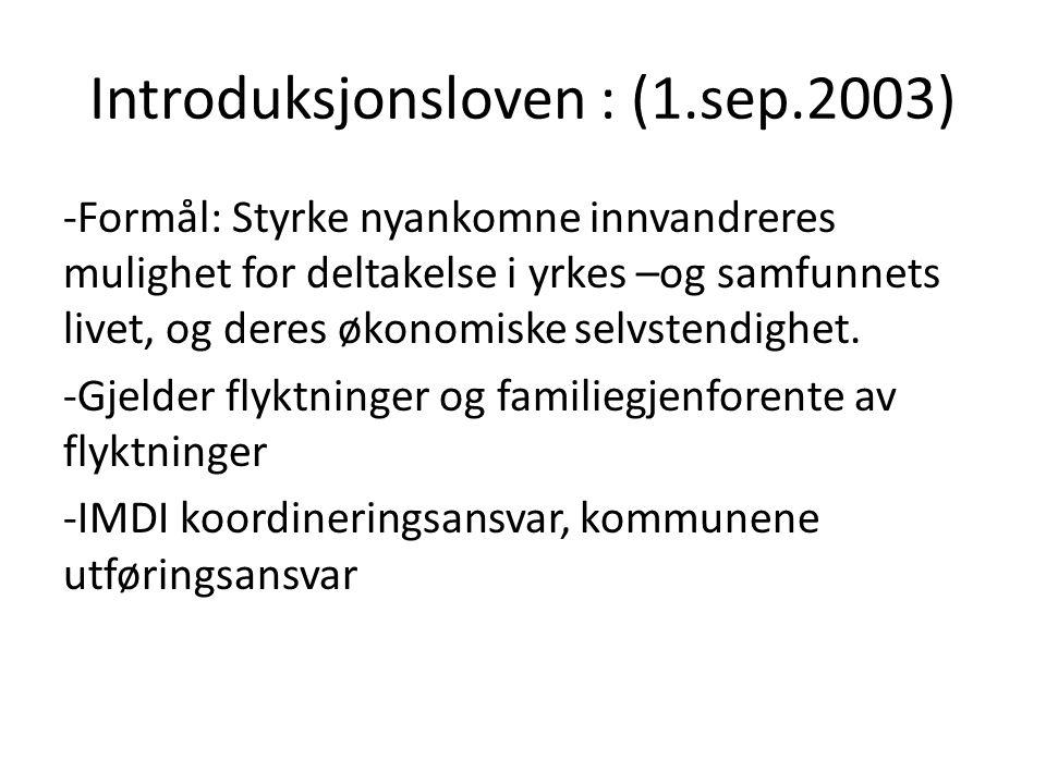 Introduksjonsloven : (1.sep.2003)