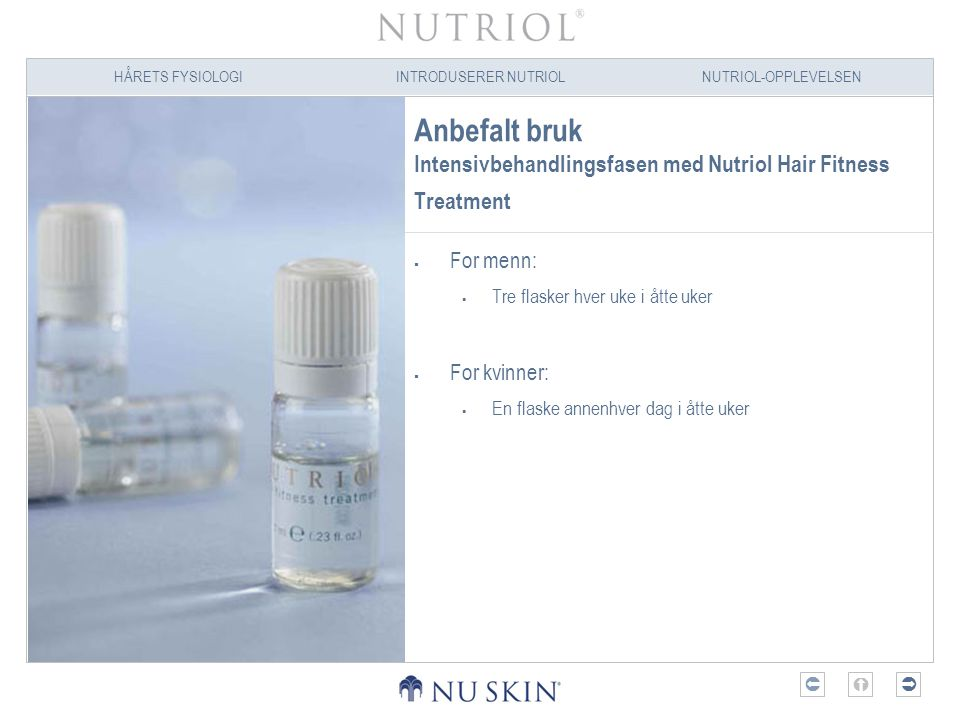 Anbefalt bruk Intensivbehandlingsfasen med Nutriol Hair Fitness Treatment