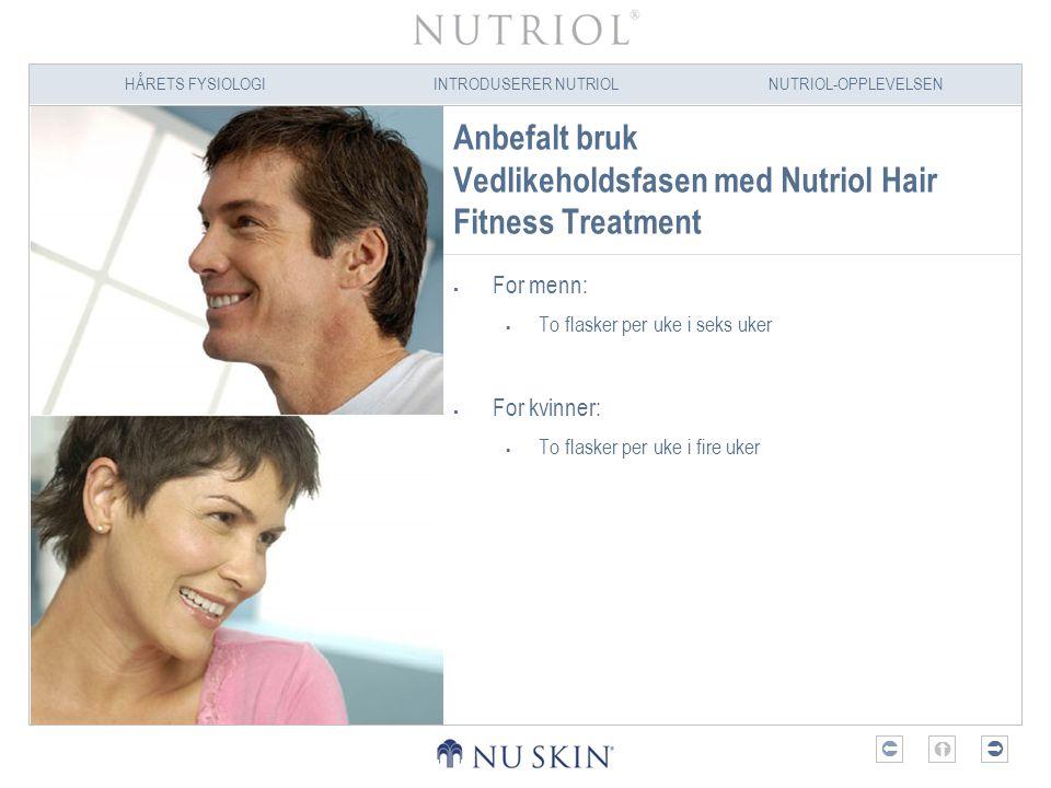 Anbefalt bruk Vedlikeholdsfasen med Nutriol Hair Fitness Treatment