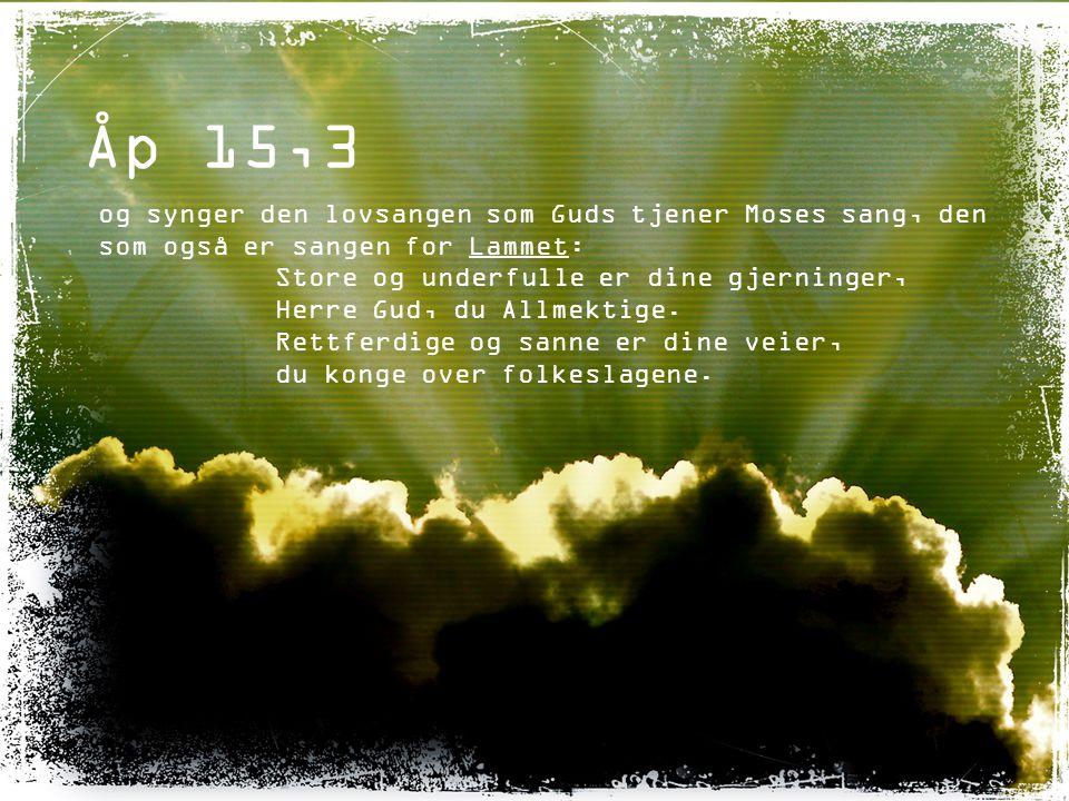 Åp 15,3 og synger den lovsangen som Guds tjener Moses sang, den som også er sangen for Lammet: Store og underfulle er dine gjerninger,