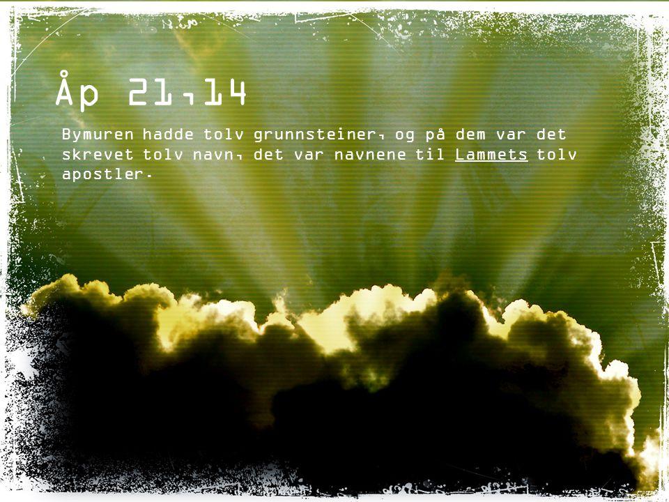 Åp 21,14 Bymuren hadde tolv grunnsteiner, og på dem var det skrevet tolv navn, det var navnene til Lammets tolv apostler.