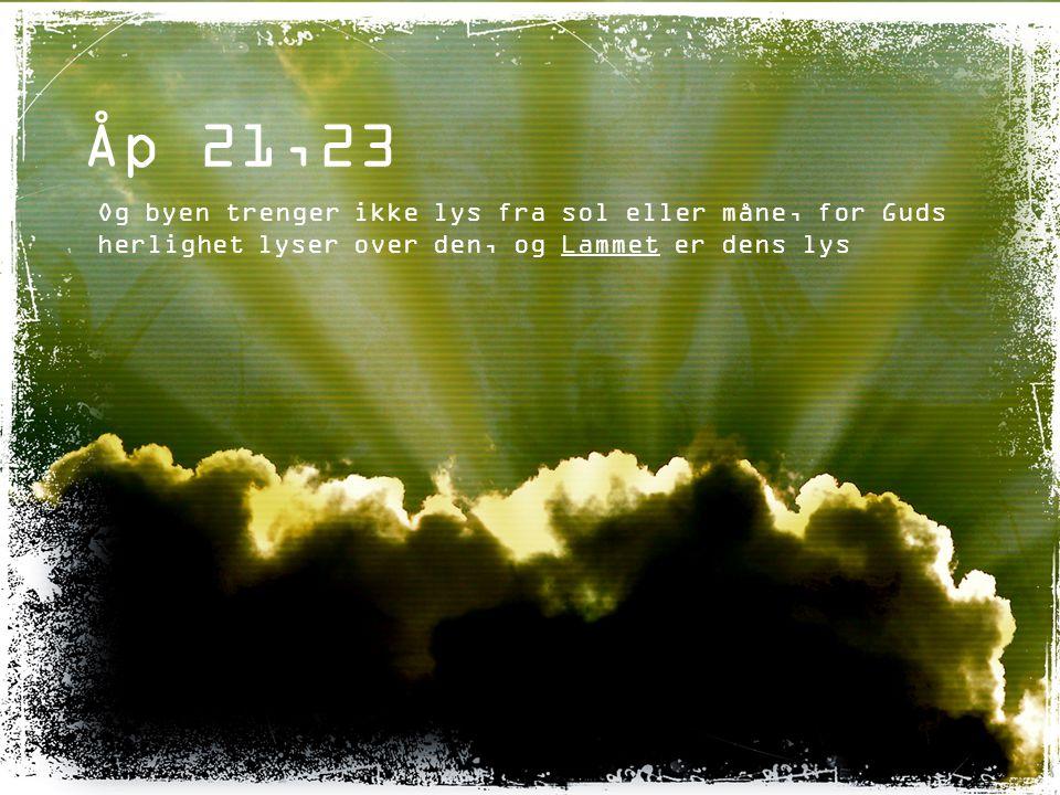 Åp 21,23 Og byen trenger ikke lys fra sol eller måne, for Guds herlighet lyser over den, og Lammet er dens lys.