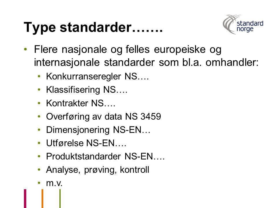 Type standarder……. Flere nasjonale og felles europeiske og internasjonale standarder som bl.a. omhandler: