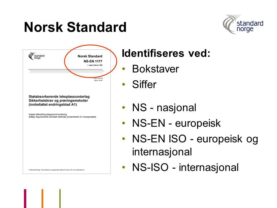 Norsk Standard Identifiseres ved: Bokstaver Siffer NS - nasjonal
