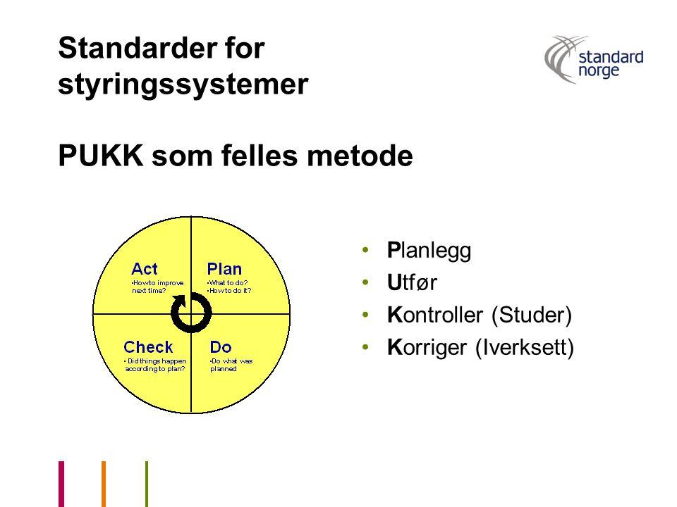 Standarder for styringssystemer PUKK som felles metode