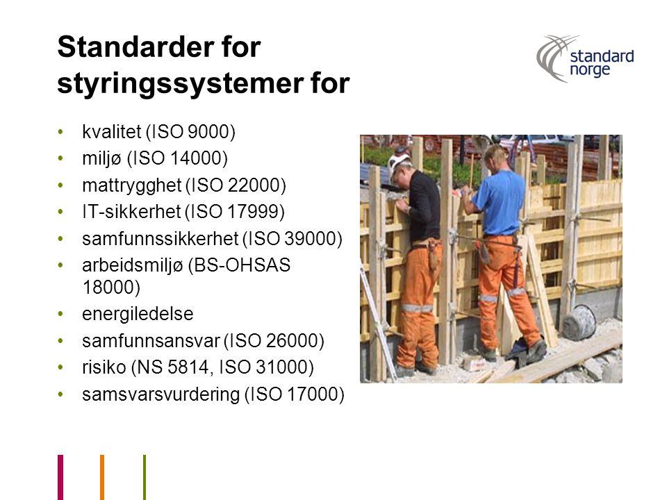 Standarder for styringssystemer for