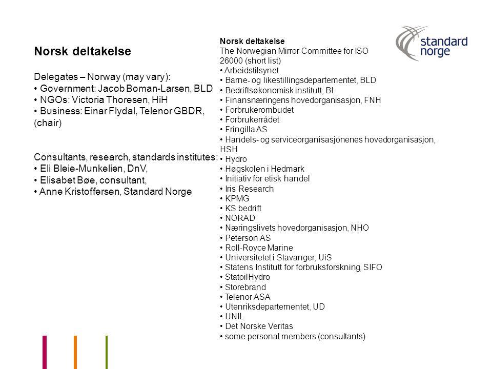 Norsk deltakelse Delegates – Norway (may vary):