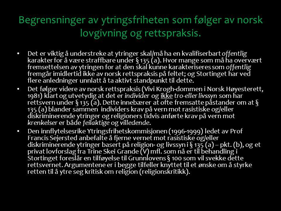 Begrensninger av ytringsfriheten som følger av norsk lovgivning og rettspraksis.