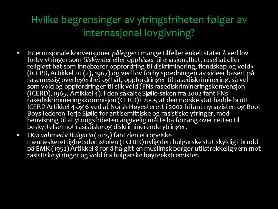 Hvilke begrensinger av ytringsfriheten følger av internasjonal lovgivning