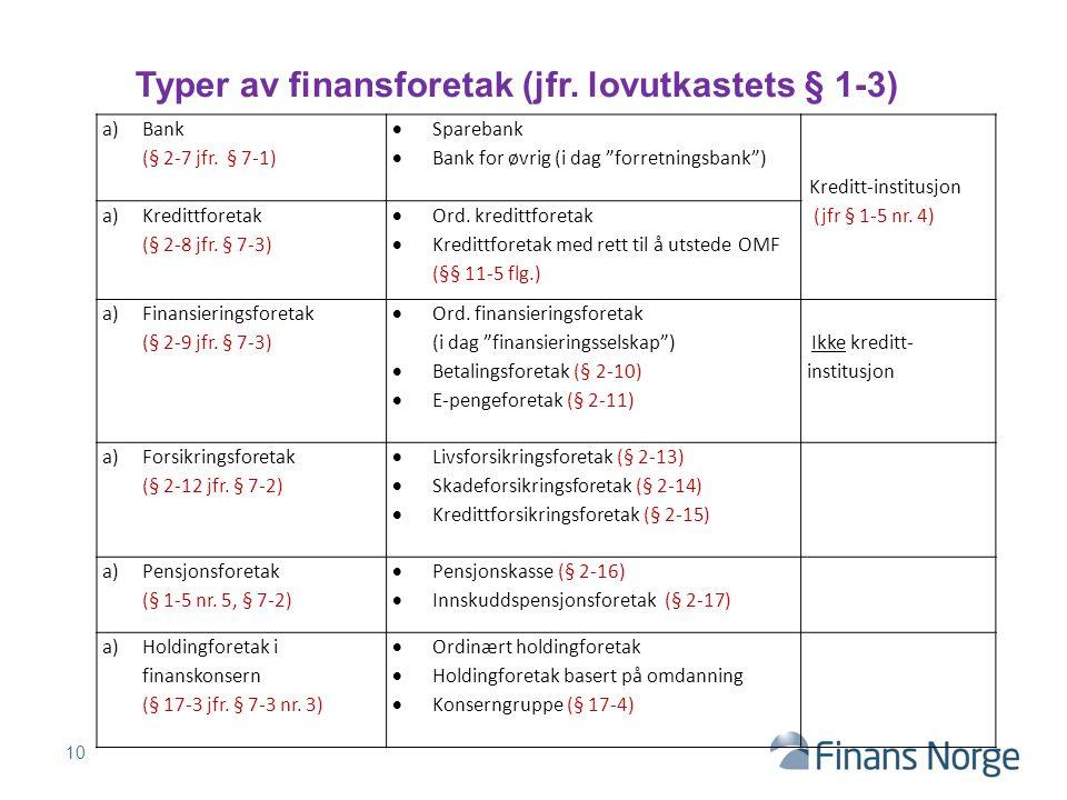 Typer av finansforetak (jfr. lovutkastets § 1-3)