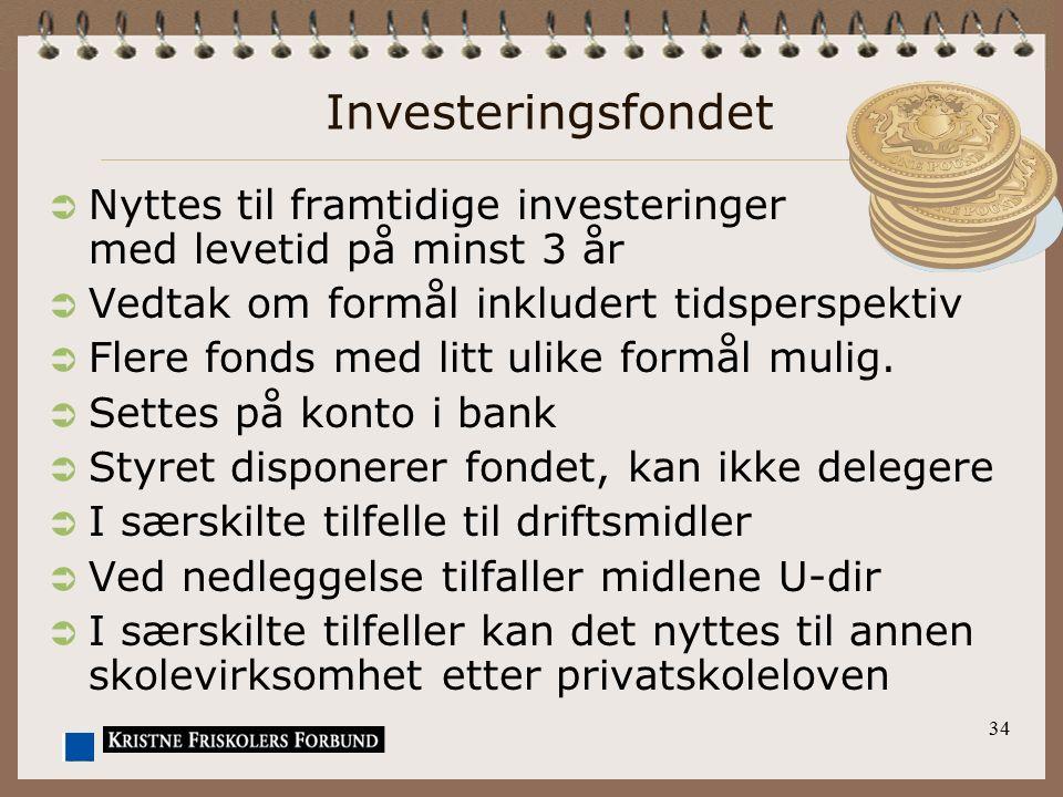 Investeringsfondet Nyttes til framtidige investeringer med levetid på minst 3 år. Vedtak om formål inkludert tidsperspektiv.