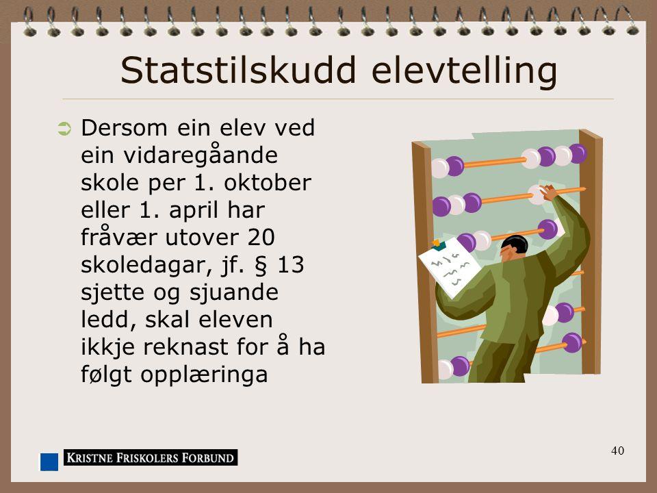 Statstilskudd elevtelling