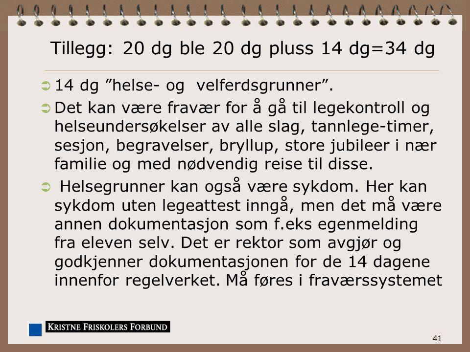 Tillegg: 20 dg ble 20 dg pluss 14 dg=34 dg