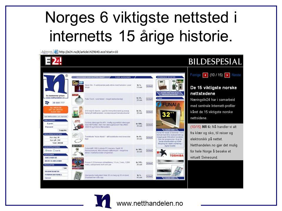 Norges 6 viktigste nettsted i internetts 15 årige historie.