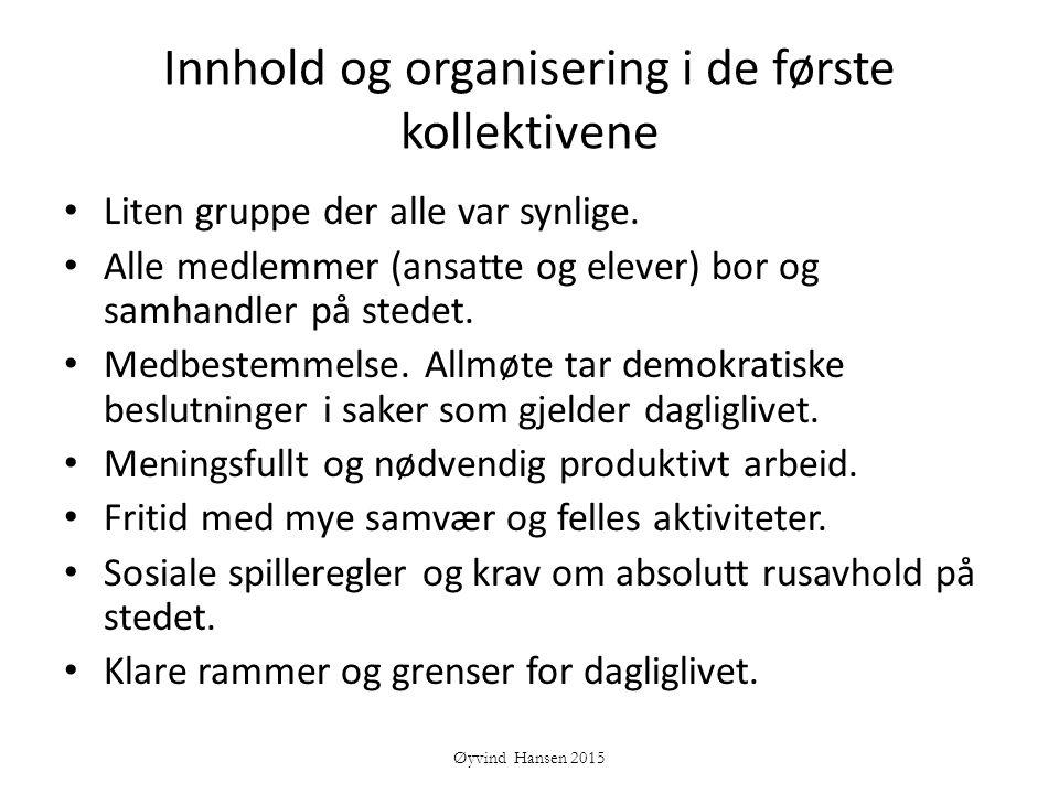 Innhold og organisering i de første kollektivene