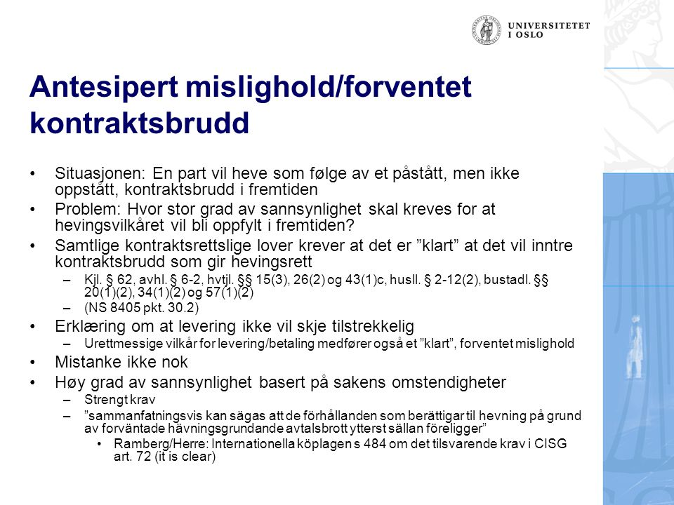 Antesipert mislighold/forventet kontraktsbrudd