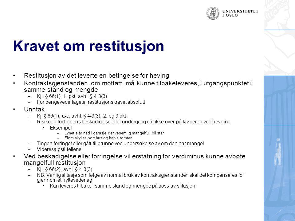 Kravet om restitusjon Restitusjon av det leverte en betingelse for heving.