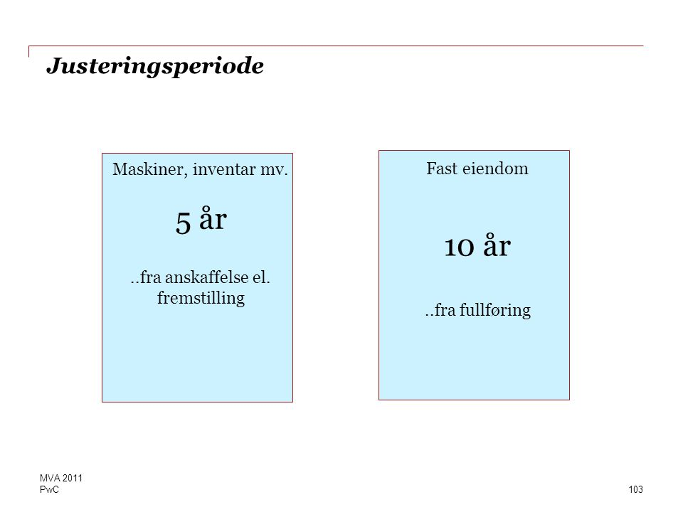10 år ..fra fullføring Justeringsperiode Maskiner, inventar mv. 5 år