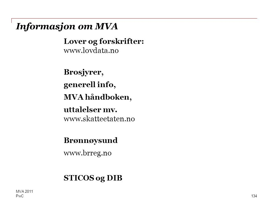 Informasjon om MVA