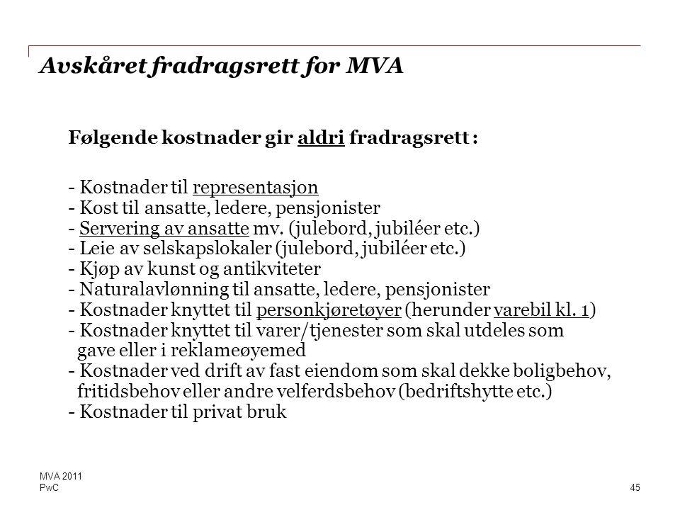 Avskåret fradragsrett for MVA