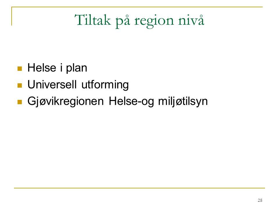 Tiltak på region nivå Helse i plan Universell utforming