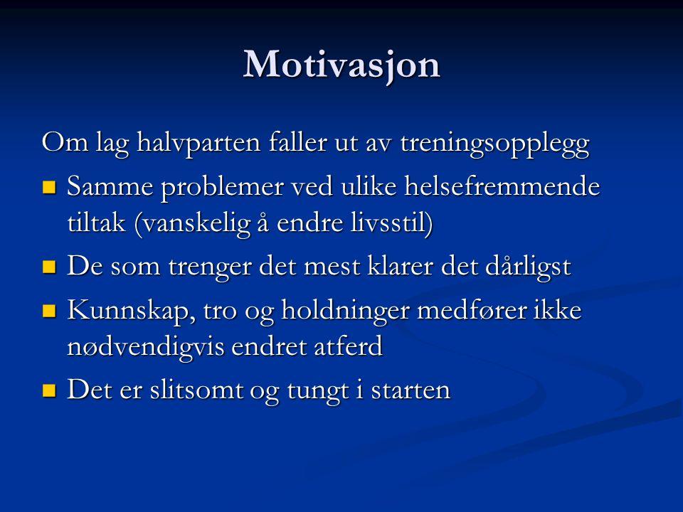Motivasjon Om lag halvparten faller ut av treningsopplegg