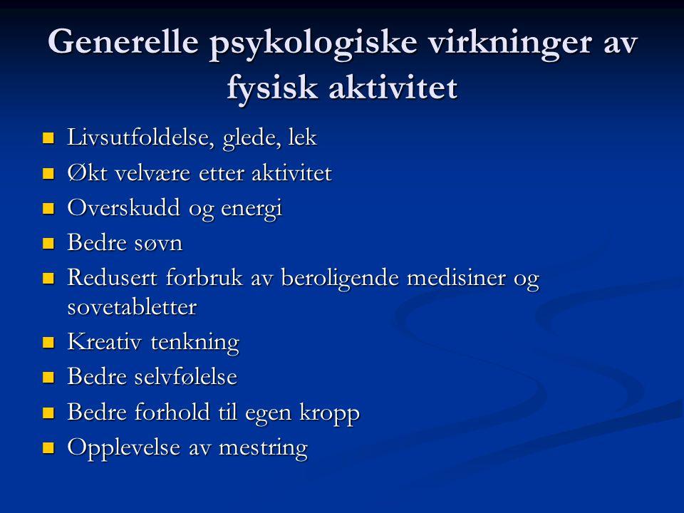 Generelle psykologiske virkninger av fysisk aktivitet